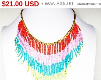 Summer Sizzler Sale Retro Mod Bib Necklace - Orange, Pink, Turquoise Blue & Lime Green Stripes - Seed Bead Tribal Boho Fringe Choker Coll...