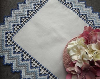 Hardanger Doily Centerpiece - Dark/Light Blue, Grey on White with Cut Out Detail