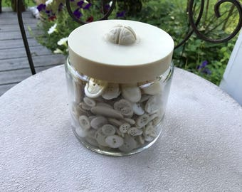 Jar of Vintage Buttons Shades of Off White Vintage Buttons Large Lot of Buttons in Yardley Jar Vintage Jar with Buttons Shabby Chic