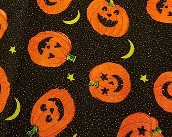 Black Skull Cap w Orange Pumpkins, Chemo Cap, Surgical Cap, Kids, Hats, Head Wrap, Halloween, Biker, hair loss, Do Rag, Handmade, Alopecia