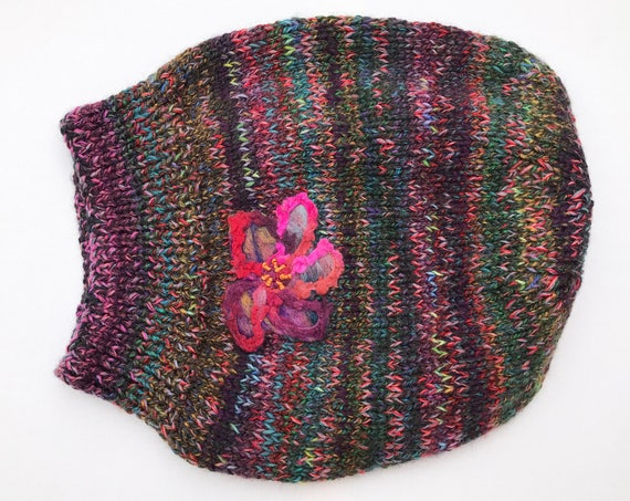 Peppercorn Slouch Hat - Dark brown multicoloured Winter Tam Hat - Brown slouch hat, multicoloured dark slouch hat, black hat with flower
