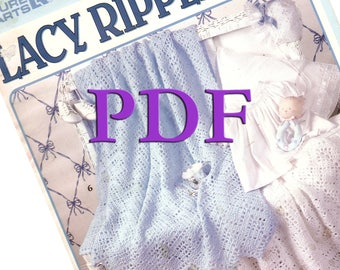 PDF - Lacy Ripples For Baby 6 Crochet afghan patterns, 1997