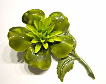 Vintage Chartreuse Brooch Flower Brooch Green Enamel Large Pin Gift for Mom Gift for Her Gift Idea Under 25