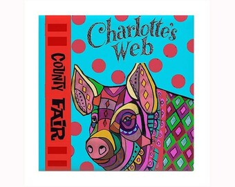 Charlotte's Web Book Lover art Tile by artist Heather Galler children's novel American author E. B. White