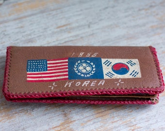 Vintage Korean Leather Wallet, 1950's Military Souvenir, 1955 US Soldier Gift for Sweetheart