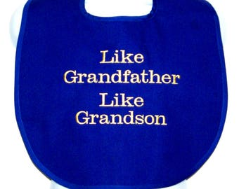 Grandfather Grandson Adult Bib, Funny Custom Personalized Gift, Grandparent Gag Gift, No Shipping Fee,  Ships Today, AGFT 1228