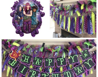 "Descendants Birthday Party Decorations - Descendants Decor - 31"" Descendants Birthday Balloon - Disney Oversize Balloon - Disney Decendants"