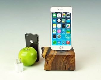 Walnut wood dock for ANY iPhone, Natural live edge wood Charging station, iPhone 7 stand, 7 plus, Docking station, gift for him, USA, #741.