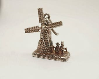 Vintage Sterling Dutch Mechanical Windmill Charm