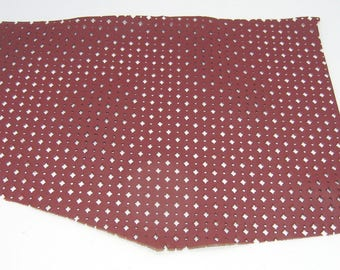 """Red Perforated Upholstery Leather Piece 4P8 13"""" x 9"""" approximately"""