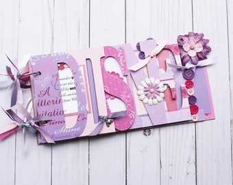 Disney princess scrapbook, Disney travel vacation chipboard pre-made scrapbook, gift for girl, pink and purple album, birthday girl