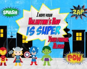 Super Hero Valentine's Card-Digital File