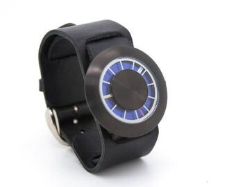 Black Leather Cuff Watch, Everyday Carry, Mens Black Watch - Orbital Special Edition