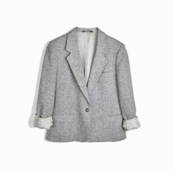 Vintage Women's Tweed Wool Blazer Jacket in Pale Gray - women's medium