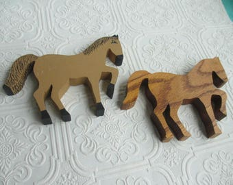 Vintage Handmade Wooden Horse Shelf Sitters set of 2 - Wood Folk Art