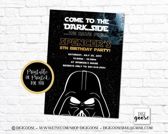 Star Wars Invitation // Star Wars Birthday Invitation // Star Wars Invite // Star Wars Birthday Invite // Printable or Printed // Dark Side