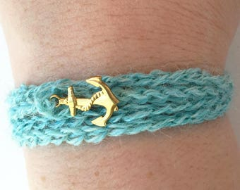 Light Blue Crochet Wrap Bracelet/Necklace with Anchor Charm - Originally He Wanted to Be a Pirate Bracelet // Anchor Bracelet // Sherlock