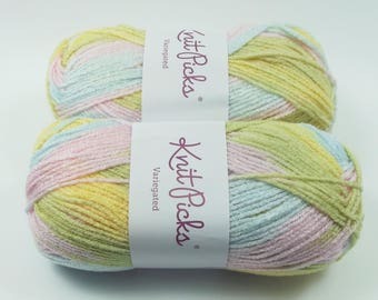 Lot of 2 Knit Picks Yarn 3.5oz Skeins Worsted Variegated Color Baby Yellow Blue Pink
