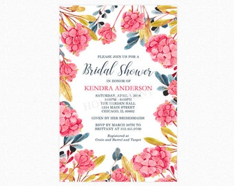 Hydrangea Flower Bridal Shower Invitation, Botanical Bridal Shower Invitation, Floral, Watercolor, Personalized, Printable and Printed