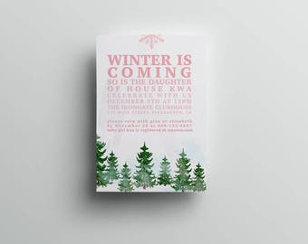 Winter Baby Shower Invitation, Game of Thrones inspired, 5x7 invitation