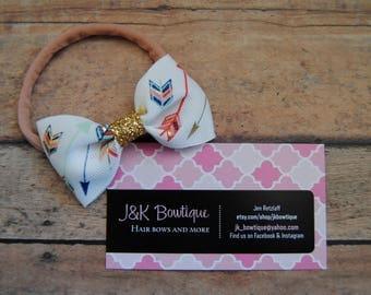 Arrows Baby headband, Small Bows, Baby Bows, Newborn headbands, Nylon Headbands, Itty bitty bows, Baby hair bows, Flower Headband