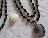 Beaded Chain - Bead Chain - Rosary Chain - 3mm Black Beaded Chain - Black Bead Chain - Jewelry Supplies - Glass Fire Polished Bead Chain