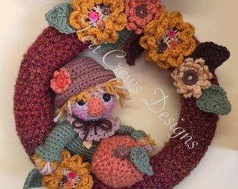 Summer Sale Fall Scarecrow Wreath Crochet Pattern by Teri Crews Instant Download PDF