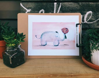 Elephants Love Printable Art Print 8x10