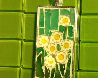 Daisies with aqua background rectangle mosaic pendant