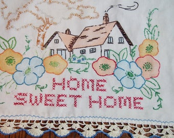 Hand Embroidered Pillow Cover Vintage Home Sweet Home Hand Painted