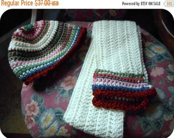 Handmade Ivory and Autumn Harvest Crocheted Girl Hat and Scarf Set - Victorian Style girls striped set. Rustic cloche and neckwarmer