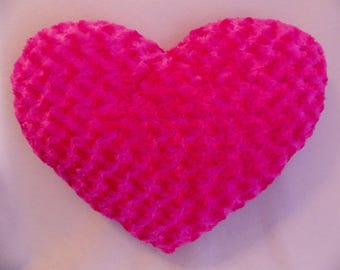 Bubble Gum/Cotton Candy Bright PINK Textured very Soft Silky Throw Toss Heart Comfy Huggable Pillow * 17 in. x 21- 1/2 in.* Large PINK Heart