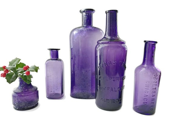 5 Vintage Purple Bottle Collection Purple Apothecary Medicine Bottles Embossed Bottles Ink Bottle