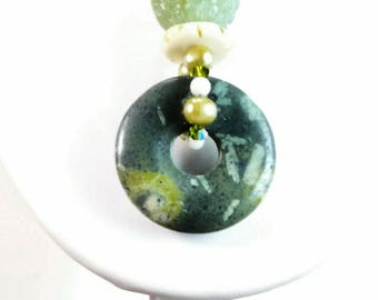 Handmade Serpentine Jade Pendant Necklace -114A