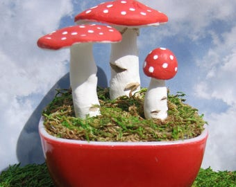 Handmade Paperclay Mushrooms in Small MCM Red Pyrex Hostess Bowl
