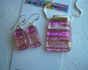 """Raspberry Pink Jewelry Set Dichroic  Fused Glass Pendant and Earrings Matching .925 Sterling Silver Italian Box Chain 20"""" Bright Pink Dichro"""