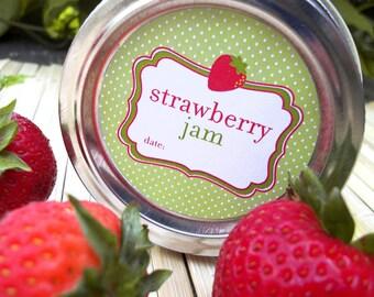 Strawberry Jam canning jar labels, round canning labels for mason jars, fruit preservation mason jar labels, cute jam jar labels
