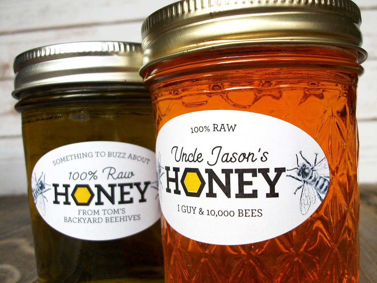 custom honeycomb oval honey labels for quilted mason jars
