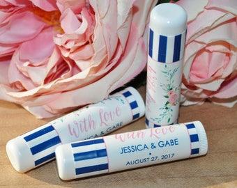 Wedding Favors, Lip Balm Favor Labels, Bridal Shower Lip Balm Favors, Bachelorette Party, Engagement Party, Blue Floral - Set of 24 Labels