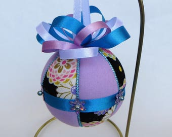Christmas Ornament Materials Kit - Black Floral, Lavender with Turquoise Trim - Hansha
