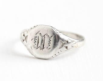Vintage Sterling Silver Art Deco Letter M Signet Ring - Antique 1920s Size 4 3/4 Single Fancy Engraved Initial Monogram Petite Jewelry