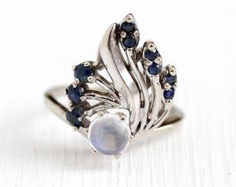Vintage Gemstone Ring - 14k White Gold Genuine Sapphire & Moonstone Gems - Retro 1960s Size 4 1/4 Blue Stone Statement Fan Fine Jewelry