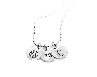ON SALE Volleyball with Number and Initial Necklace: Silver
