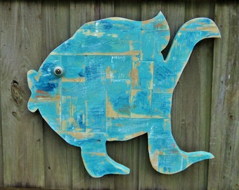 Tropical Fish Wall Art, Weathered Patchwork, Distressed Mosaics