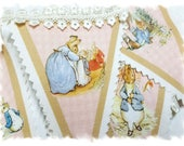 NEW - Peter Rabbit Story Bunting - Linen Canvas - Sewn Nursery Bunting - Ribbon or Lace - Pink, Blue, Moss or Lavender Color Scheme