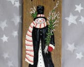 """The Long Scarf, snowman on authentic barnwood, hand painted, 4 1/2"""" x 10"""""""