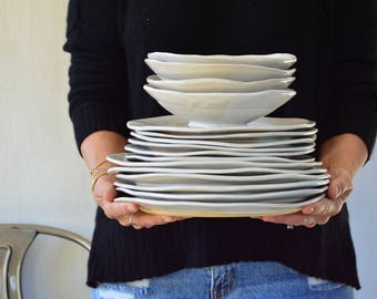 Handmade Dinnerware Set Stoneware Dinnerware Set White Dinnerware Organic Shaped Dinnerware - 6 & Handmade white dinnerware | Etsy