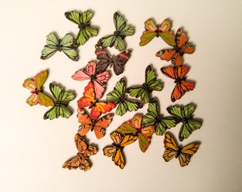 Butterfly Shaped Buttons - 1 Inch - Set of 20