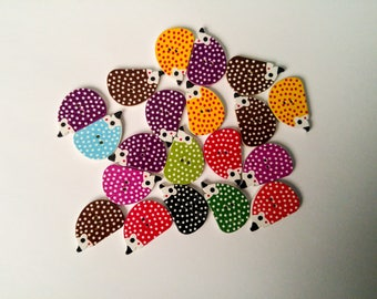 Hedgehog Shaped Buttons - 1 Inch - Set of 20