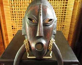Vintage Wood African Gambian Jola's Jalang Ritual Mask - Hand-carved African Wood Ceremonial Mask